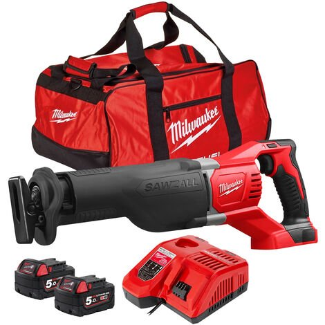 """main image of """"Milwaukee M18BSX-0 18V Sawzall Reciprocating Saw with 2 x 5.0Ah Batteries & Charger in Bag:18V"""""""