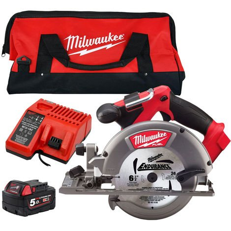 Milwaukee M18CCS55-0 18V 165mm Circular Saw with 1 x 5.0Ah Battery & Charger in Bag:18V