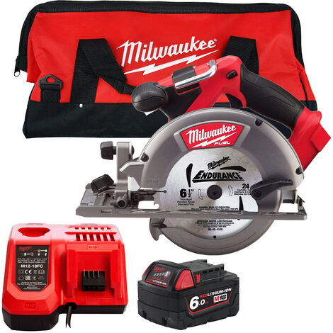 Milwaukee M18CCS55-0 18V 165mm Circular Saw with 1 x 6.0Ah Battery Charger & Large Bag:18V