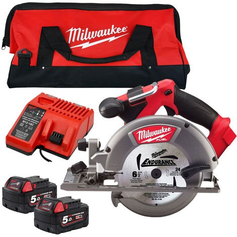 Milwaukee M18CCS55-0 18V 165mm Circular Saw with 2 x 5.0Ah Batteries & Charger in Bag:18V
