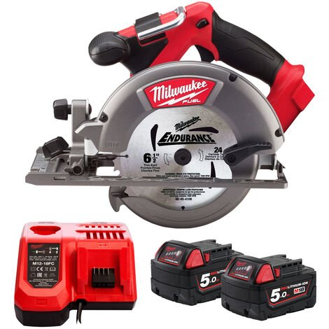 Milwaukee M18CCS55-0 18V 165mm Circular Saw with 2 x 5.0Ah Batteries & Charger:18V