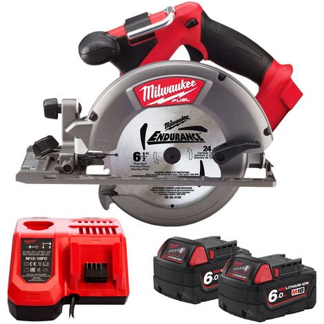 Milwaukee M18CCS55-0 18V 165mm Circular Saw with 2 x 6.0Ah Batteries & Charger:18V