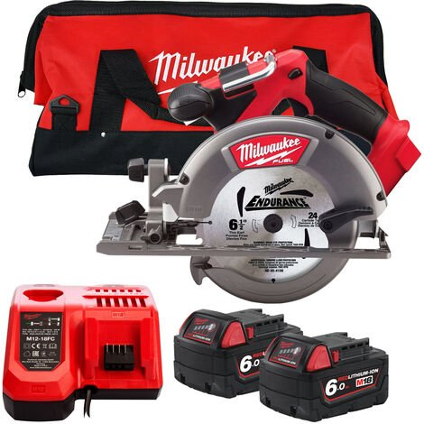 Milwaukee M18CCS55-0 18V 165mm Circular Saw with 2 x 6.0Ah Battery Charger & Large Bag:18V