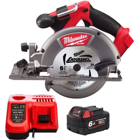 Milwaukee M18CCS55-0 18V M18 165mm Circular Saw with 1 x 6.0Ah Battery & Charger:18V