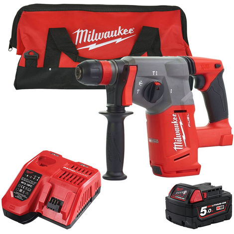 Milwaukee M18CHX-0 18V SDS+ Hammer Drill with 1 x 5.0Ah Battery & Fast Charger in Bag:18V
