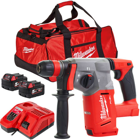 Milwaukee M18CHX-0 18V SDS+ Hammer Drill with 2 x 5.0Ah Batteries & Fast Charger in Bag:18V
