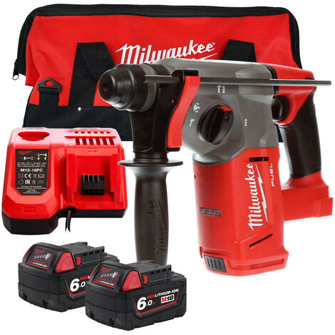 Milwaukee M18CHX-0 18V SDS Plus Hammer Drill with 2 x 6.0Ah Batteries Charger & Large Bag:18V