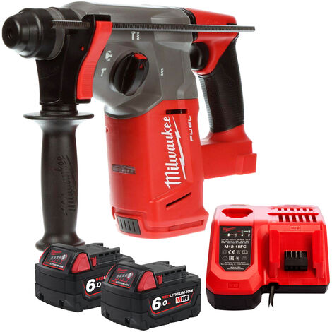 Milwaukee M18CHX-0 18V SDS Plus Hammer Drill with 2 x 6.0Ah Batteries & Charger:18V