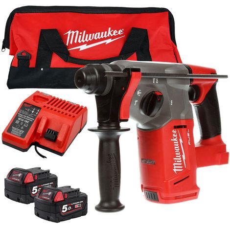 Milwaukee M18CHX-0 M18 Hammer Drill 2 x 5.0Ah Battery Charger Tool Bag