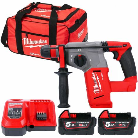Milwaukee M18CHX 18V Fuel SDS+ Hammer Drill With 2 x 5.0Ah Batteries, Charger & Bag