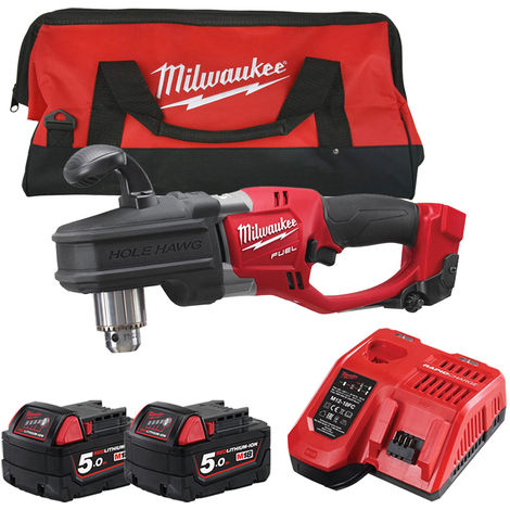 Milwaukee M18CRAD-0 18V Angle Drill with 2 x 5.0Ah Batteries & Fast Charger in Bag:18V