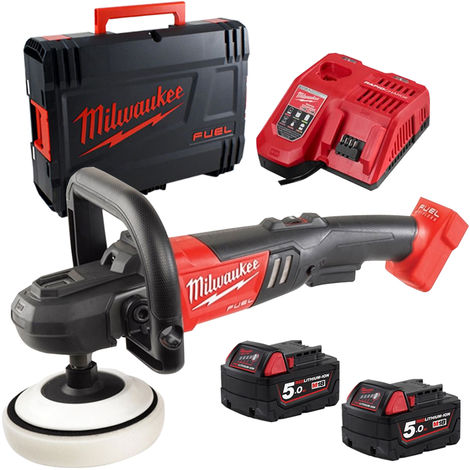 Milwaukee M18FAP180-502X 18V 180mm Fuel Polisher with 2 x 5.0Ah Battery & Charge in Case:18V