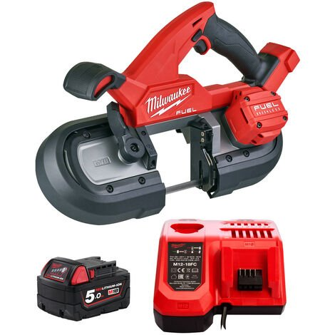 Milwaukee M18FBS85-0C 18V Brushless 85mm Band Saw with 1 x 5.0Ah Battery & Charger:18V