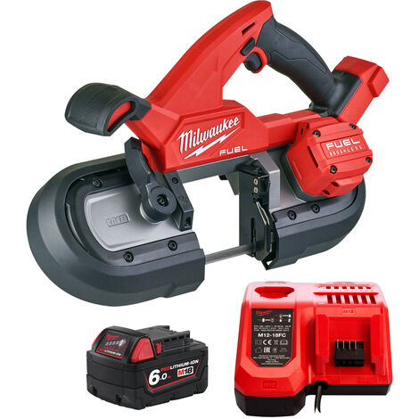 Milwaukee M18FBS85-0C 18V Brushless 85mm Band Saw with 1 x 6.0Ah Battery & Charger:18V