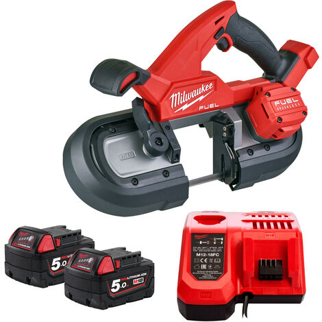 Milwaukee M18FBS85-0C 18V Brushless 85mm Band Saw with 2 x 5.0Ah Batteries & Charger:18V