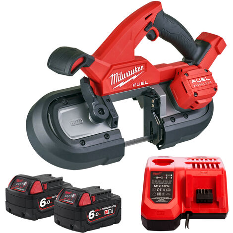 Milwaukee M18FBS85-0C 18V Brushless 85mm Band Saw with 2 x 6.0Ah Batteries & Charger:18V