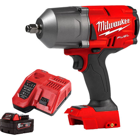 Milwaukee M18FHIWF12-0 18V Impact Wrench + 1 x 5.0Ah Battery & Charger:18V