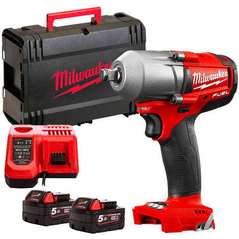 Milwaukee M18FMTIWF12-502X 18v FUEL Mid-Torque Impact Wrench with 2 x 5.0Ah Battery & Charger in Case:18V