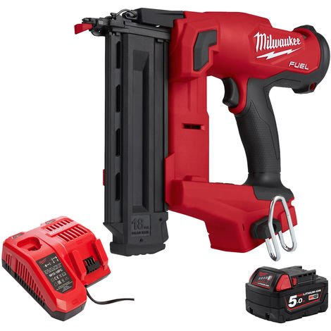 Milwaukee M18FNCS18GS-0X 18V FUEL Narrow Crown Stapler with 1 x 5.0Ah Battery & Charger in Case:18V