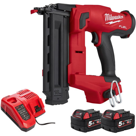 Milwaukee M18FNCS18GS-0X 18V FUEL Narrow Crown Stapler with 2 x 5.0Ah Batteries & Charger in Case:18V
