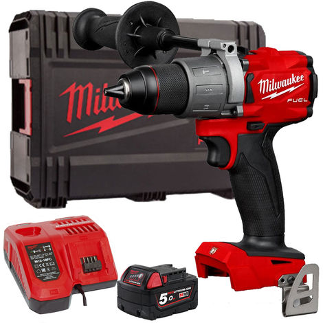 Milwaukee M18FPD2-0 18V Fuel Percussion Drill with 1 x 5.0Ah Battery & Charger in Case:18V
