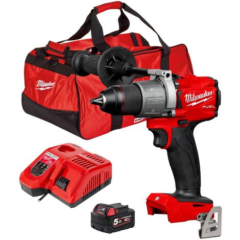 Milwaukee M18FPD2-0 18V Percussion Drill with 1 x 5.0Ah Battery & Charger in Bag:18V