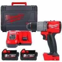 Milwaukee M18FPD2 18v Fuel Percussion Drill With 2 x 5.0Ah Batteries, Charger & Case