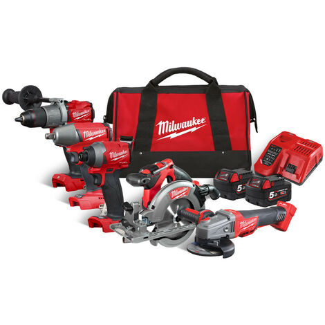 Milwaukee M18FPP5M-502B 18V 5 Piece Li-ion Cordless Kit 4933478258:18V