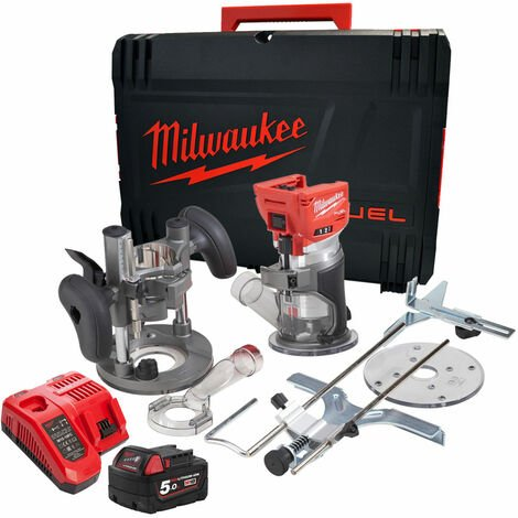 """main image of """"Milwaukee M18FTR-0 18V Brushless Trim Router with 1 x 5.0Ah Battery Charger in Case:18V"""""""