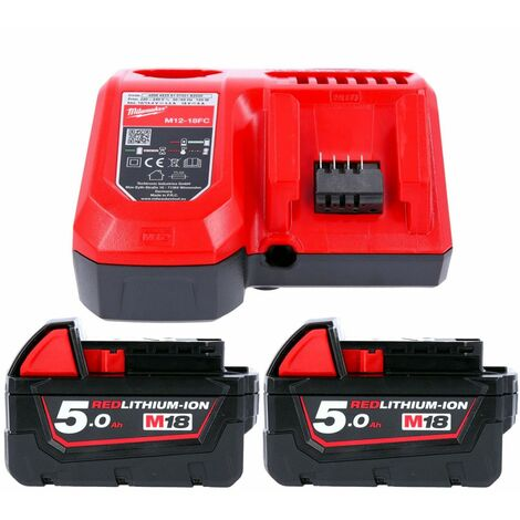 Milwaukee M18NRG-502 18V 5.0Ah Red Li-ion Batteries With Fast Charger