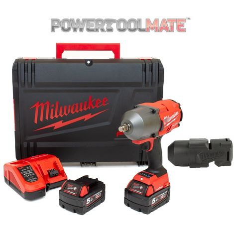 """Milwaukee M18ONEFHIWF12-502X FUEL One Key 1/2"""" Impact Wrench Kit with Rubber Sleeve"""