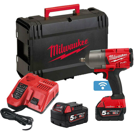 "Milwaukee M18ONEFHIWF12-502X FUEL One Key 1/2"" Impact Wrench with 2 x 5.0Ah Batteries"