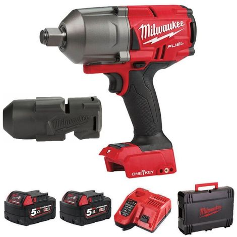 Milwaukee M18ONEFHIWF34-502X 18v 2x5.0Ah Li-ion Fuel 3/4in Wrench Kit With Sleeve