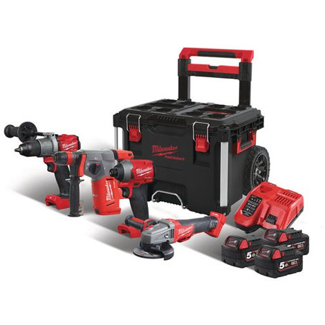 MILWAUKEE - PACK 4 PRODUITS FUEL 18V + PACK OUT TROLLEY M18 FPP4B-503P - 4933471149 - -