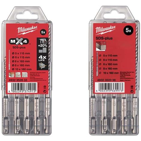 MILWAUKEE Pack Box of 5 concrete drills RX4 SDS-plus - Box of 5 drills SDS Plus transparent case