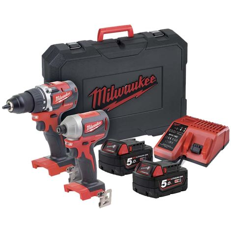 MILWAUKEE Pack Drill-Driver M18 - Impact Screwdriver M18 - 2 Batteries 5.0Ah - 1 Charger 4933464718