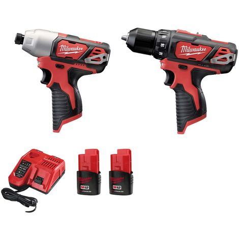 MILWAUKEE Pack M12 Drill-Driver Drill - M12 Impact Screwdriver - 2 Batteries 1.5Ah - 1 Charger 4933459386