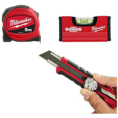 "main image of ""MILWAUKEE Pack mètre 5m + Cutter + Niveau Minibox - 4932471129"""