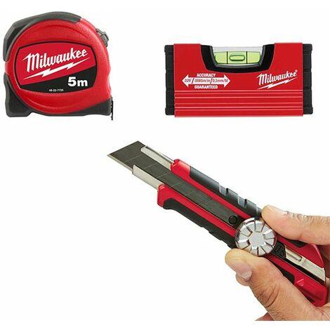 MILWAUKEE - Pack mètre 5m + Cutter + Niveau Minibox - 4932471129