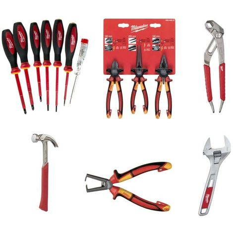 MILWAUKEE Pack Multi-Socket Clamp 200mm - Set of 3 universal VDE cutting pliers and long spout - Adjustable wrench 200mm