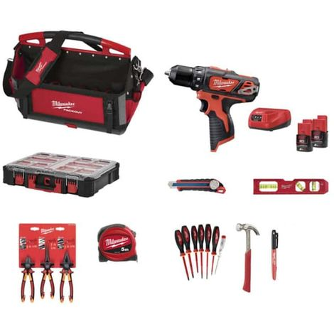 MILWAUKEE Pack Screwdriver Drill M12 BDD-202C 12V 2 batteries and 1 charger - Slimline tape measure 25mm - Torpedo ticke