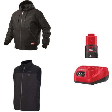 MILWAUKEE Pack Size L - Black hooded jacket WGJHBL - Heated jacket without sleeve HBWP - Battery charger 12V M12 C12 C12