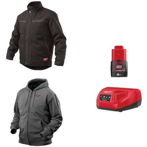 MILWAUKEE Pack Size L - Black jacket WGJCBL - Heated grey sweatshirt HHBL - Battery charger 12V M12 C12 C12 C - Battery