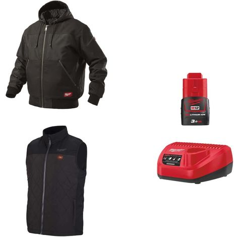 MILWAUKEE Pack Size S - Black hooded jacket WGJHBL - Heated jacket without sleeve HBWP - Battery charger 12V M12 C12 C12