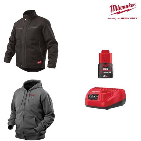 MILWAUKEE Pack Size S - Black jacket WGJCBL - Heated grey sweatshirt HHBL - Battery charger 12V M12 C12 C12 C - Battery