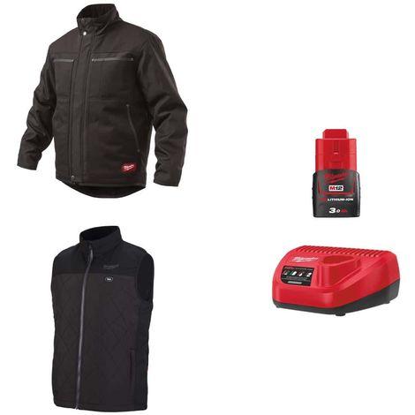 MILWAUKEE Pack Size S - Black jacket WGJCBL - Heated jacket without handle HBWP - Battery charger 12V M12 C12 C12 C - Ba