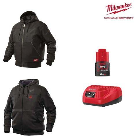 MILWAUKEE Pack Size XXL - Black hooded jacket WGJHBL - Heated sweatshirt HHBL - Battery charger 12V M12 C12 C12 C - Batt