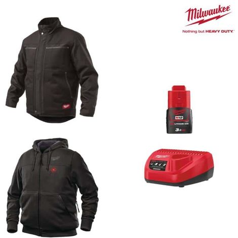MILWAUKEE Pack Size XXL - Black jacket WGJCBL - Heated sweatshirt HHBL - Battery charger 12V M12 C12 C12 C - Battery M12