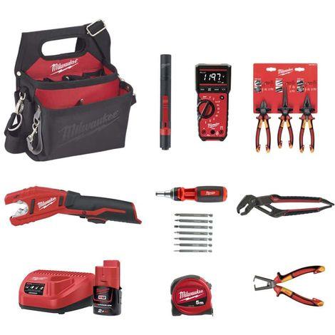 MILWAUKEE Pack Stripping pliers - Multi-meter 2217-40 - Pipe cutter C12PC-0 - Set of 3 VDE pliers - Multi-socket pliers