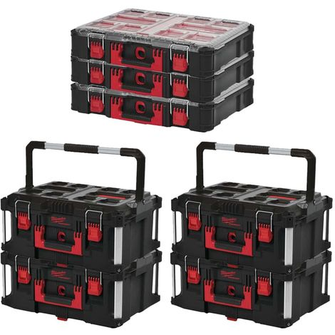 MILWAUKEE PACKOUT 4 Carrying cases 62L Size 3 - 3 Organizers 10 thick racks